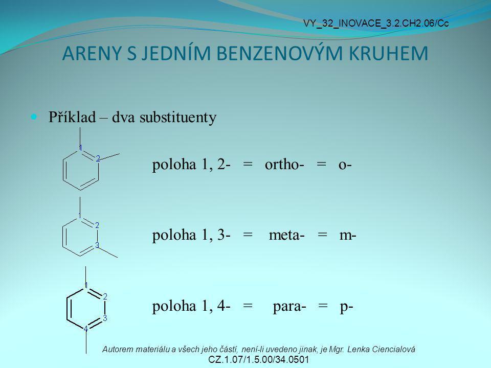 ARENY S JEDNÍM BENZENOVÝM KRUHEM Příklad – dva substituenty 1, 2- dimethylbenzen = o-dimethylbenzen 1, 3- diethylbenzen = m-diethylbenzen Autorem materiálu a všech jeho částí, není-li uvedeno jinak, je Mgr.