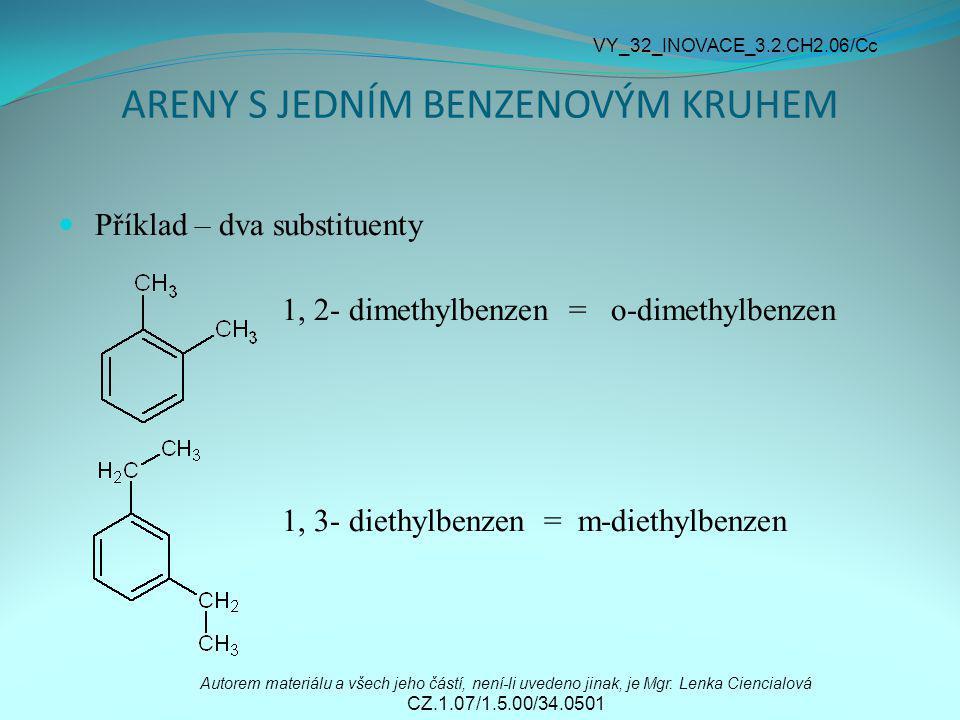 ARENY S JEDNÍM BENZENOVÝM KRUHEM Příklad – dva substituenty 1, 2- dimethylbenzen = o-dimethylbenzen 1, 3- diethylbenzen = m-diethylbenzen Autorem mate