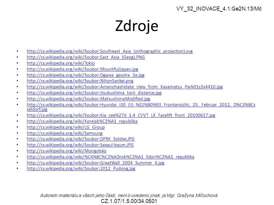 VY_32_INOVACE_4.1.Ge2N.13/Mč Autorem materiálu a všech jeho částí, není-li uvedeno jinak, je Mgr. Gražyna Mlčochová CZ.1.07/1.5.00/34.0501 Zdroje http