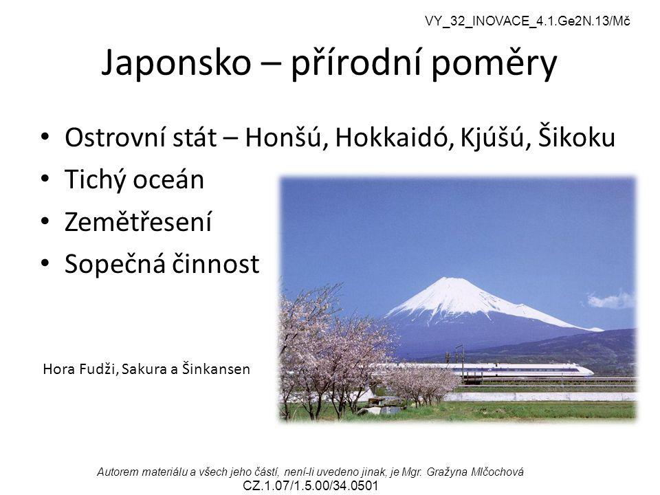 VY_32_INOVACE_4.1.Ge2N.13/Mč Autorem materiálu a všech jeho částí, není-li uvedeno jinak, je Mgr. Gražyna Mlčochová CZ.1.07/1.5.00/34.0501 Japonsko –