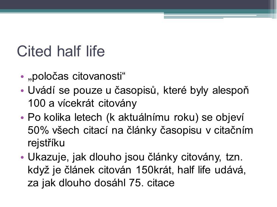 """Cited half life """" poločas citovanosti Uvádí se pouze u časopisů, které byly alespoň 100 a vícekrát citovány Po kolika letech (k aktuálnímu roku) se objeví 50% všech citací na články časopisu v citačním rejstříku Ukazuje, jak dlouho jsou články citovány, tzn."""