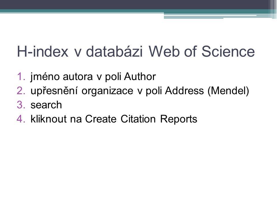 H-index v databázi Web of Science