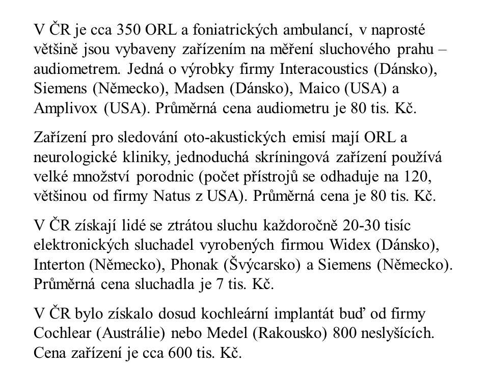 V ČR je cca 350 ORL a foniatrických ambulancí, v naprosté většině jsou vybaveny zařízením na měření sluchového prahu – audiometrem. Jedná o výrobky fi