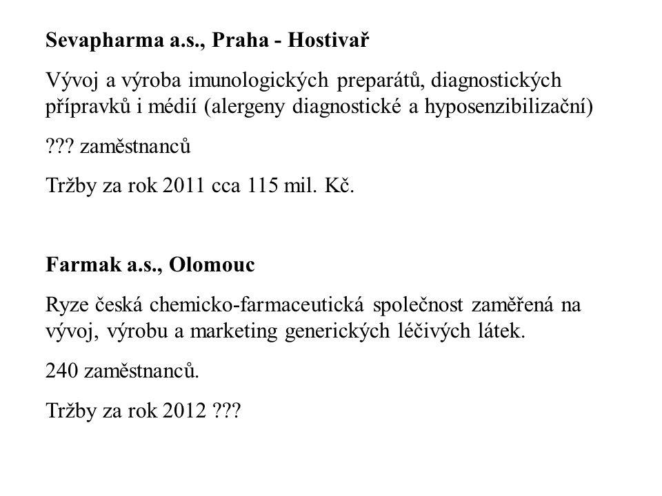 Sevapharma a.s., Praha - Hostivař Vývoj a výroba imunologických preparátů, diagnostických přípravků i médií (alergeny diagnostické a hyposenzibilizačn