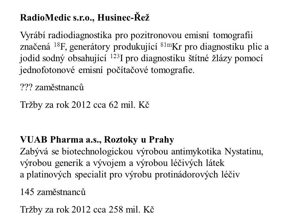 RadioMedic s.r.o., Husinec-Řež Vyrábí radiodiagnostika pro pozitronovou emisní tomografii značená 18 F, generátory produkující 81m Kr pro diagnostiku