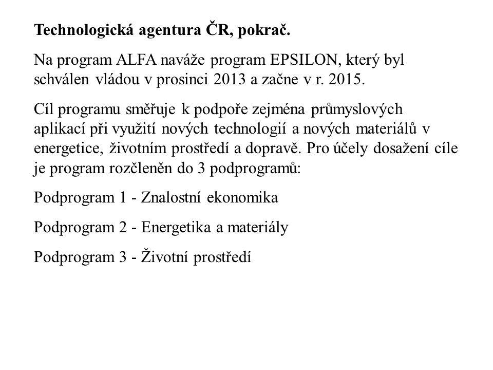 Technologická agentura ČR, pokrač. Na program ALFA naváže program EPSILON, který byl schválen vládou v prosinci 2013 a začne v r. 2015. Cíl programu s