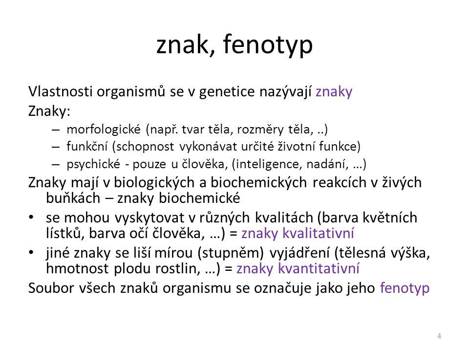 znak, fenotyp Vlastnosti organismů se v genetice nazývají znaky Znaky: – morfologické (např. tvar těla, rozměry těla,..) – funkční (schopnost vykonáva