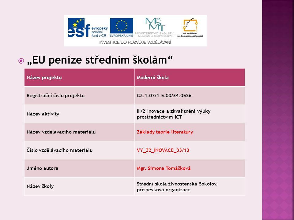 Podstata a funkce literatury Literární druhy a žánry Vypracovala: Mgr. Simona Tomášková