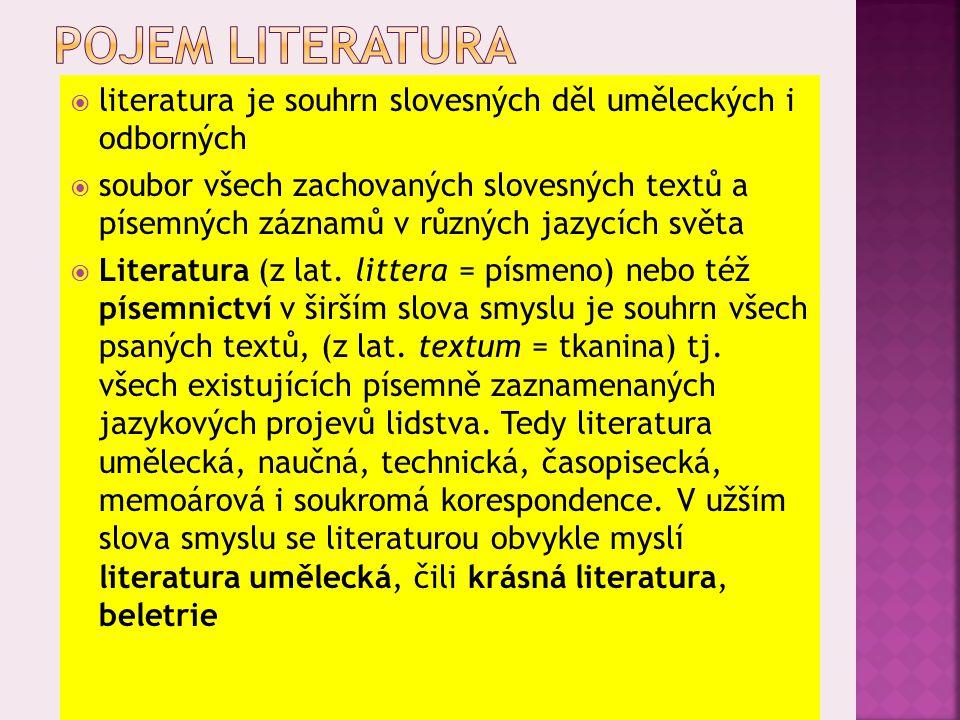  literatura je souhrn slovesných děl uměleckých i odborných  soubor všech zachovaných slovesných textů a písemných záznamů v různých jazycích světa  Literatura (z lat.