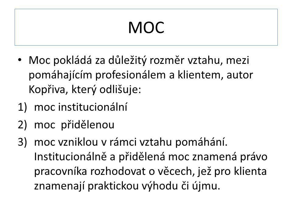 MOC Moc pokládá za důležitý rozměr vztahu, mezi pomáhajícím profesionálem a klientem, autor Kopřiva, který odlišuje: 1)moc institucionální 2)moc přidě