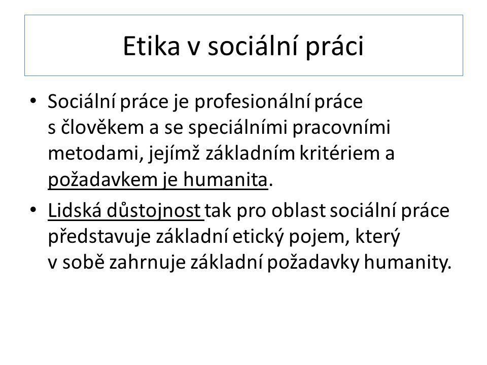 Etika v sociální práci Sociální práce je profesionální práce s člověkem a se speciálními pracovními metodami, jejímž základním kritériem a požadavkem