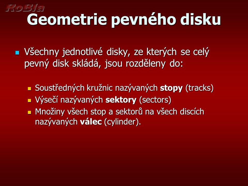 Geometrie pevného disku Všechny jednotlivé disky, ze kterých se celý pevný disk skládá, jsou rozděleny do: Všechny jednotlivé disky, ze kterých se celý pevný disk skládá, jsou rozděleny do: Soustředných kružnic nazývaných stopy (tracks) Soustředných kružnic nazývaných stopy (tracks) Výsečí nazývaných sektory (sectors) Výsečí nazývaných sektory (sectors) Množiny všech stop a sektorů na všech discích nazývaných válec (cylinder).