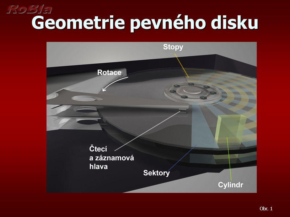 Geometrie pevného disku - parametry Hlavy disku (heads) Hlavy disku (heads) Počet čtecích (zapisovacích) hlav pevného disku Počet čtecích (zapisovacích) hlav pevného disku Tento počet je shodný s počtem aktivních ploch, na které se provádí záznam Tento počet je shodný s počtem aktivních ploch, na které se provádí záznam Většinou každý jednotlivý disk má dvě aktivní plochy a k nim příslušné čtecí (zapisovací) hlavy.