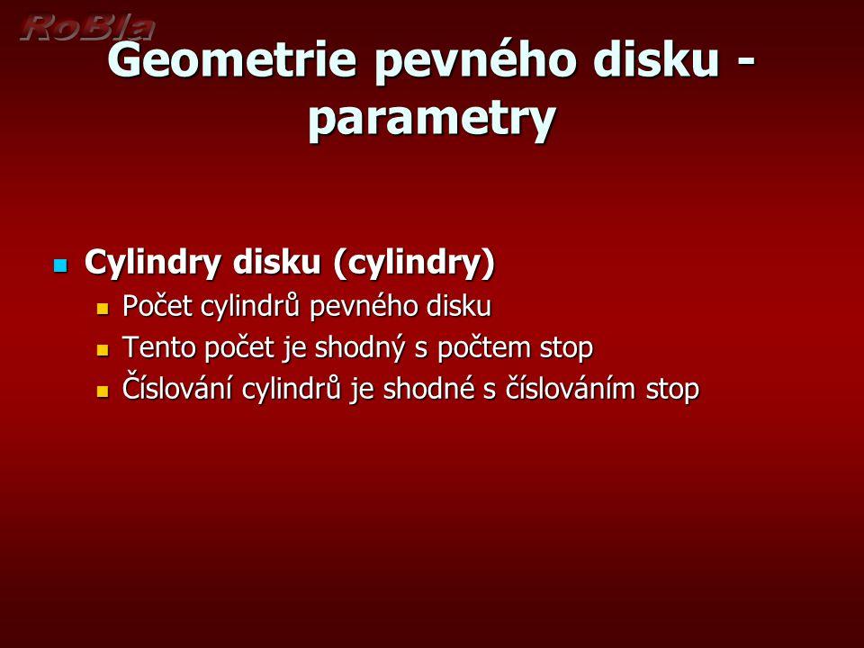 Geometrie pevného disku - parametry Cylindry disku (cylindry) Cylindry disku (cylindry) Počet cylindrů pevného disku Počet cylindrů pevného disku Tento počet je shodný s počtem stop Tento počet je shodný s počtem stop Číslování cylindrů je shodné s číslováním stop Číslování cylindrů je shodné s číslováním stop