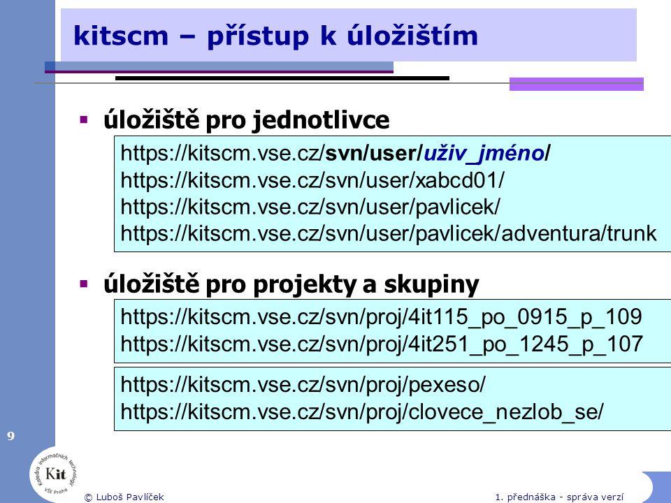 9 kitscm – přístup k úložištím  úložiště pro jednotlivce  úložiště pro projekty a skupiny https://kitscm.vse.cz/svn/user/uživ_jméno/ https://kitscm.vse.cz/svn/user/xabcd01/ https://kitscm.vse.cz/svn/user/pavlicek/ https://kitscm.vse.cz/svn/user/pavlicek/adventura/trunk https://kitscm.vse.cz/svn/proj/4it115_po_0915_p_109 https://kitscm.vse.cz/svn/proj/4it251_po_1245_p_107 https://kitscm.vse.cz/svn/proj/pexeso/ https://kitscm.vse.cz/svn/proj/clovece_nezlob_se/