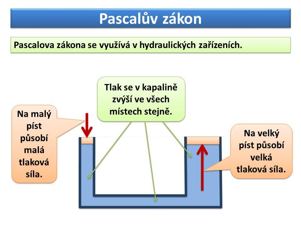 Velikost tlaku v kapalině: Pascalův zákon Pro hydraulické zařízení platí: F1F1 S1S1 S2S2 Hydrostatický tlak v kapalině zanedbáváme.