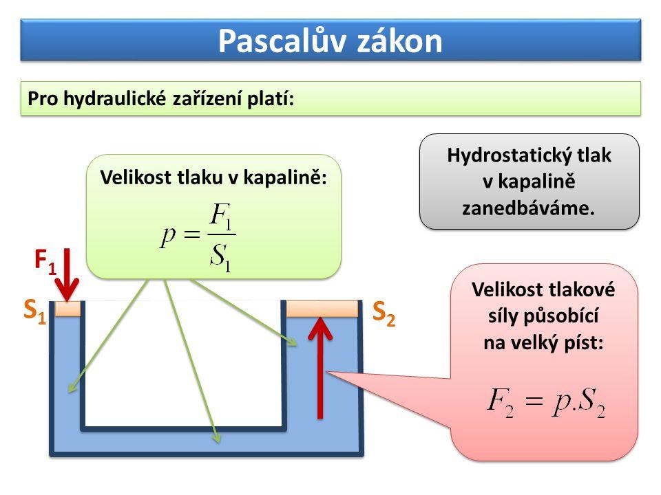 S 1 = 10 cm 2 = = 0,001 m 2 S 1 = 10 cm 2 = = 0,001 m 2 Pascalův zákon Zkusíme vše na příkladu: Kolikrát se zvětší plocha pístů, S 2 = 100 cm 2 = = 0,01 m 2 tolikrát se zvětší síla působící na píst.
