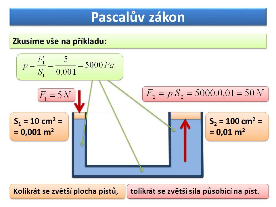 Pascalův zákon Příklad 1: Na malý píst o ploše 3 cm 2 působí síla 600 N.
