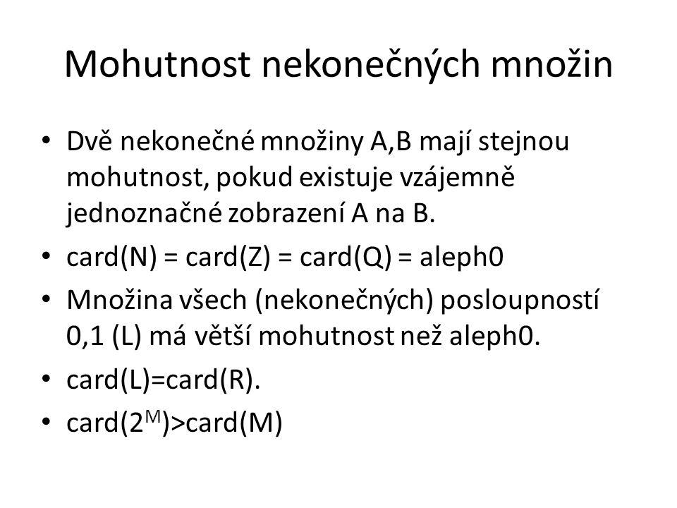 Mohutnost nekonečných množin Dvě nekonečné množiny A,B mají stejnou mohutnost, pokud existuje vzájemně jednoznačné zobrazení A na B. card(N) = card(Z)