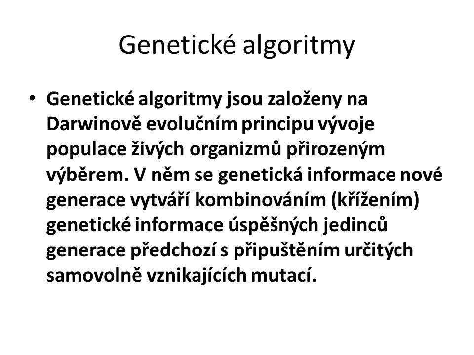 Genetické algoritmy Genetické algoritmy jsou založeny na Darwinově evolučním principu vývoje populace živých organizmů přirozeným výběrem. V něm se ge