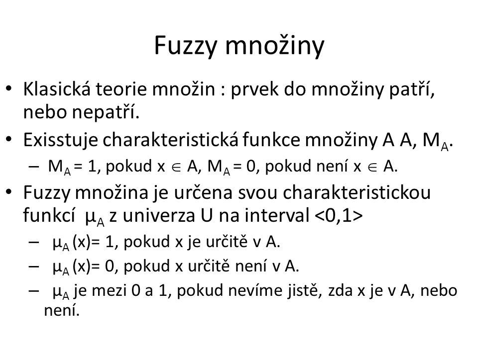Fuzzy množiny Klasická teorie množin : prvek do množiny patří, nebo nepatří. Exisstuje charakteristická funkce množiny A A, M A. – M A = 1, pokud x 