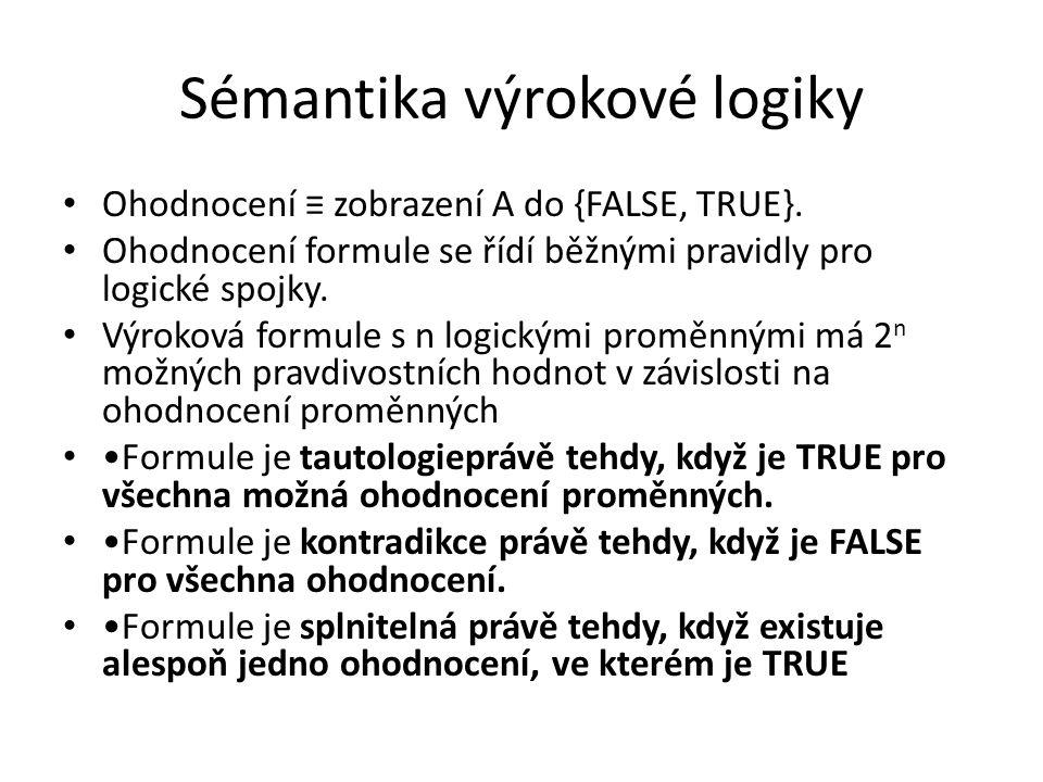 Sémantika výrokové logiky Ohodnocení ≡ zobrazení A do {FALSE, TRUE}. Ohodnocení formule se řídí běžnými pravidly pro logické spojky. Výroková formule