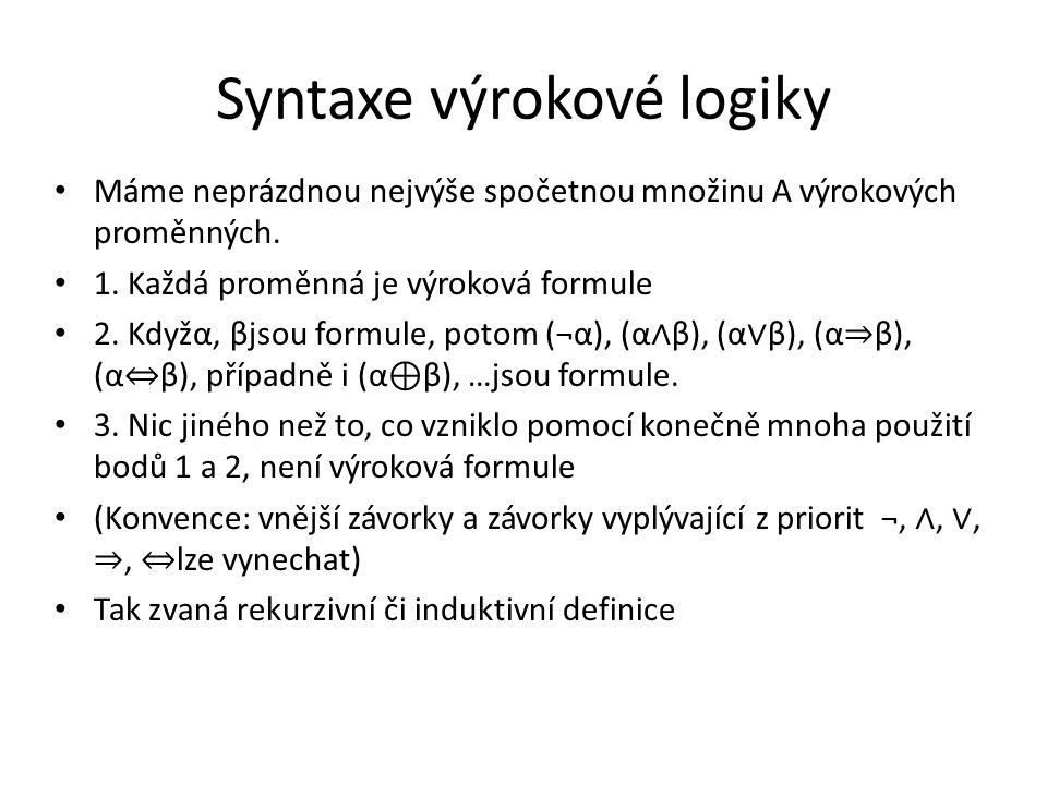 Syntaxe výrokové logiky Máme neprázdnou nejvýše spočetnou množinu A výrokových proměnných. 1. Každá proměnná je výroková formule 2. Kdyžα, βjsou formu