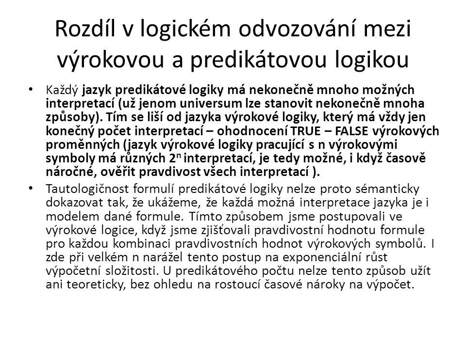 Rozdíl v logickém odvozování mezi výrokovou a predikátovou logikou Každý jazyk predikátové logiky má nekonečně mnoho možných interpretací (už jenom un