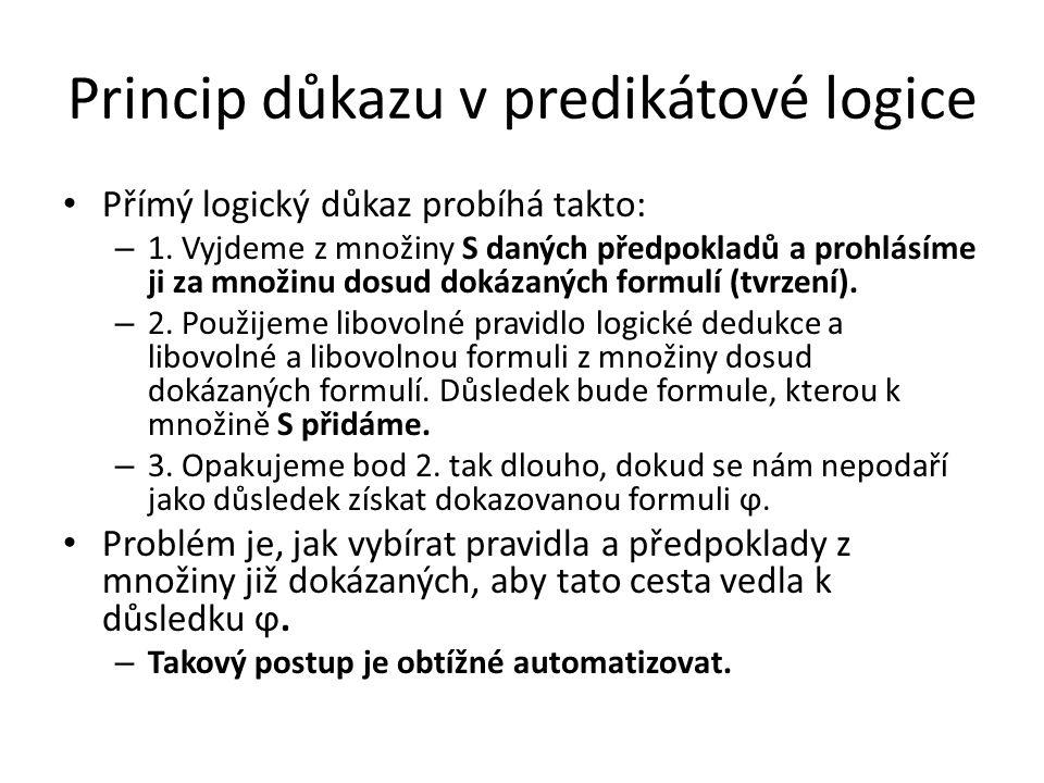 Princip důkazu v predikátové logice Přímý logický důkaz probíhá takto: – 1. Vyjdeme z množiny S daných předpokladů a prohlásíme ji za množinu dosud do