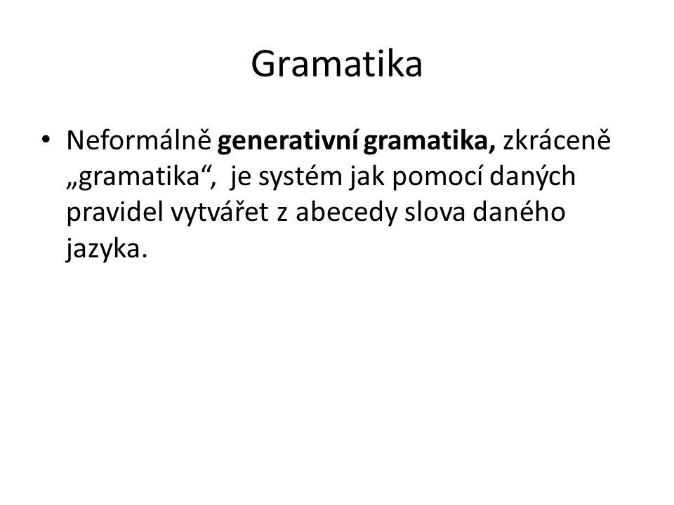 """Gramatika Neformálně generativní gramatika, zkráceně """"gramatika"""", je systém jak pomocí daných pravidel vytvářet z abecedy slova daného jazyka."""