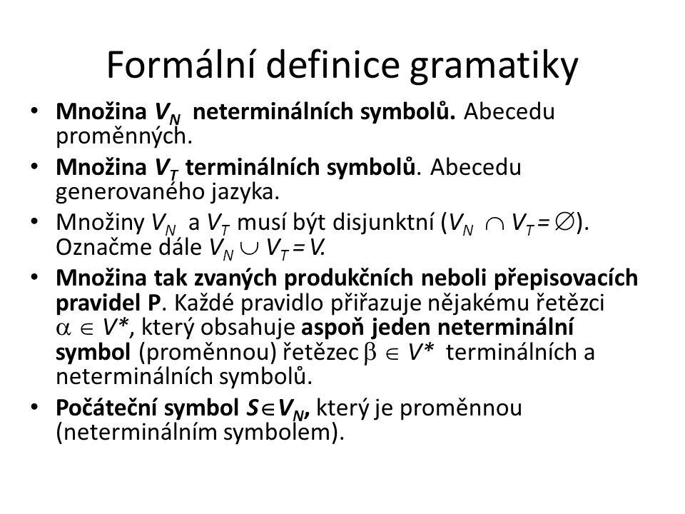 Formální definice gramatiky Množina V N neterminálních symbolů. Abecedu proměnných. Množina V T terminálních symbolů. Abecedu generovaného jazyka. Mno