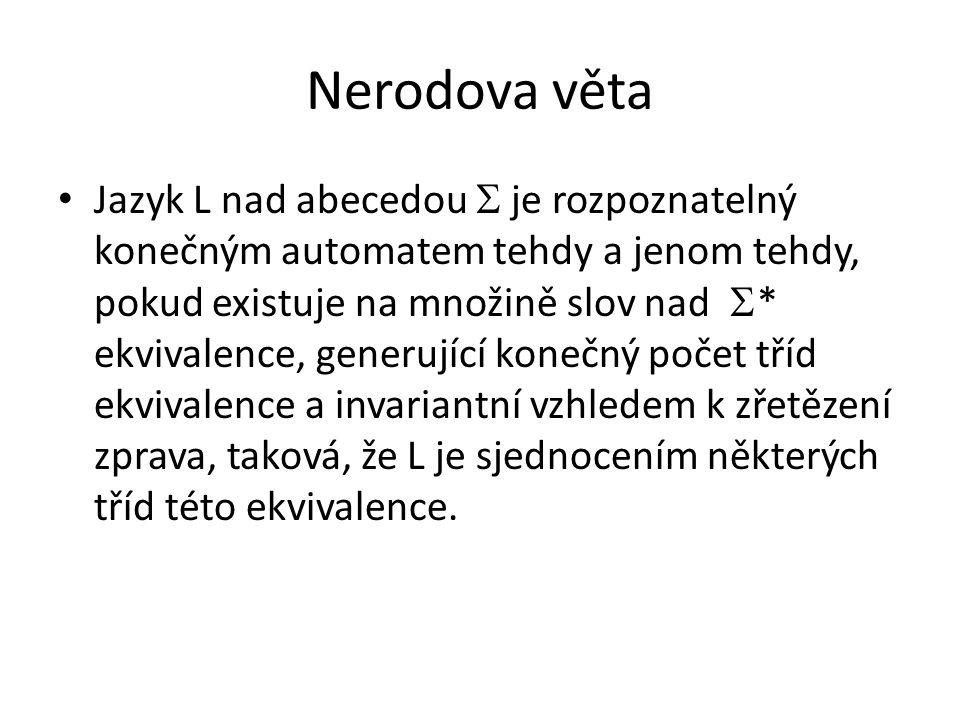 Nerodova věta Jazyk L nad abecedou  je rozpoznatelný konečným automatem tehdy a jenom tehdy, pokud existuje na množině slov nad  * ekvivalence, gene