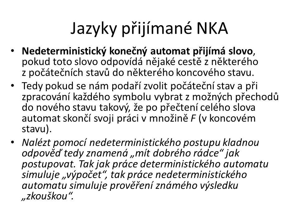 Jazyky přijímané NKA Nedeterministický konečný automat přijímá slovo, pokud toto slovo odpovídá nějaké cestě z některého z počátečních stavů do někter