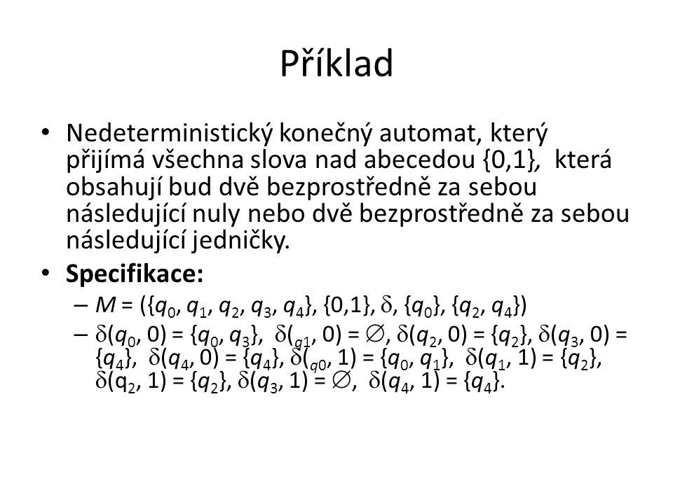 Příklad Nedeterministický konečný automat, který přijímá všechna slova nad abecedou {0,1}, která obsahují bud dvě bezprostředně za sebou následující n