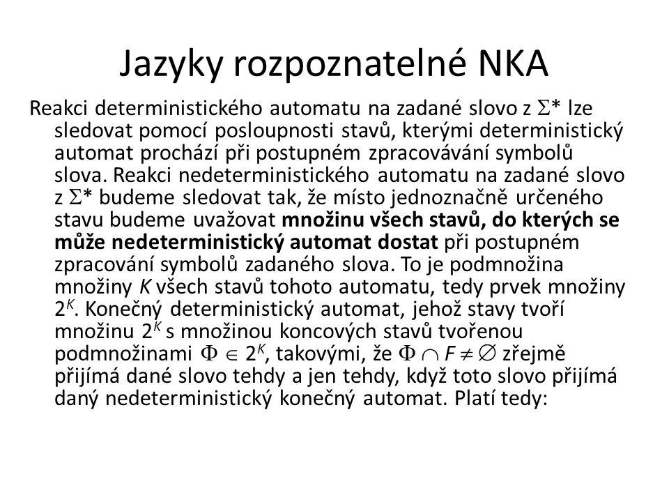 Jazyky rozpoznatelné NKA Reakci deterministického automatu na zadané slovo z  * lze sledovat pomocí posloupnosti stavů, kterými deterministický autom