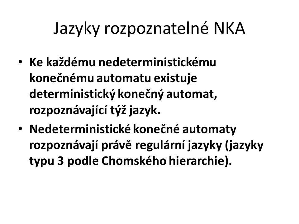 Jazyky rozpoznatelné NKA Ke každému nedeterministickému konečnému automatu existuje deterministický konečný automat, rozpoznávající týž jazyk. Nedeter