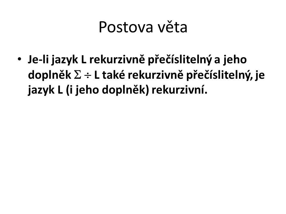 Postova věta Je-li jazyk L rekurzivně přečíslitelný a jeho doplněk   L také rekurzivně přečíslitelný, je jazyk L (i jeho doplněk) rekurzivní.