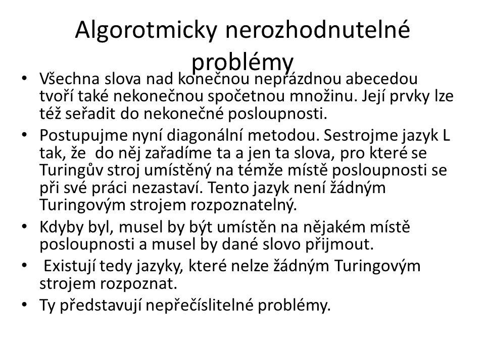 Algorotmicky nerozhodnutelné problémy Všechna slova nad konečnou neprázdnou abecedou tvoří také nekonečnou spočetnou množinu. Její prvky lze též seřad