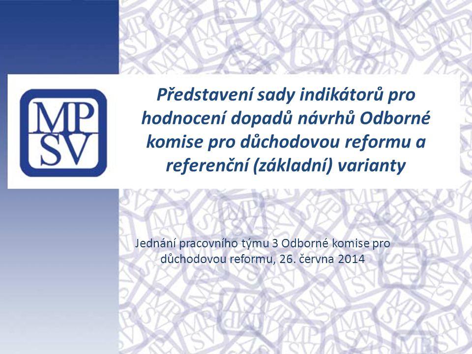 Představení sady indikátorů pro hodnocení dopadů návrhů Odborné komise pro důchodovou reformu a referenční (základní) varianty Jednání pracovního týmu 3 Odborné komise pro důchodovou reformu, 26.