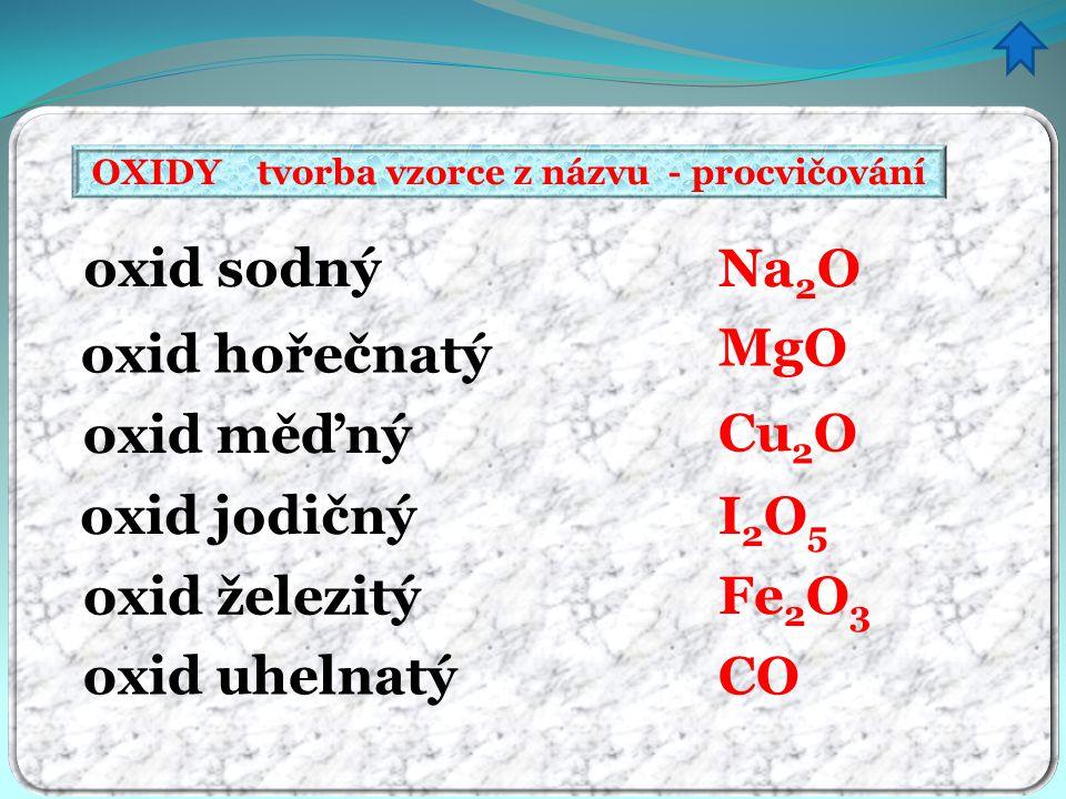 OXIDY tvorba vzorce z názvu - procvičování oxid sodný oxid hořečnatý oxid měďný oxid jodičný oxid železitý oxid uhelnatý Na 2 O MgO Cu 2 O I2O5I2O5 Fe 2 O 3 CO