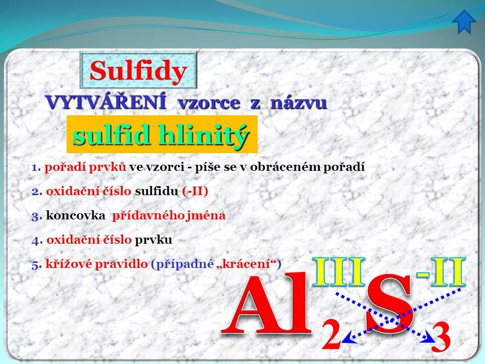 Sulfidy VYTVÁŘENÍ vzorce z názvu sulfid hlinitý itý 1. pořadí prvků ve vzorci - píše se v obráceném pořadí 3. koncovka přídavného jména 4. oxidační čí