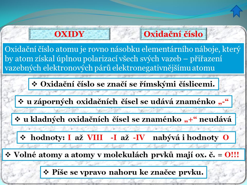 """Záporná oxidační čísla mají zakončení """"- id (bez ohledu na velikost): oxid, hydroxid, sulfid, chlorid … Součet oxidačních čísel všech atomů v molekule je roven nule !!."""