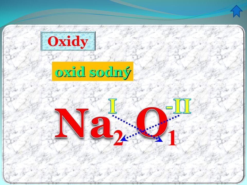 Oxidy VYTVÁŘENÍ názvu ze vzorce 2 1 1.pořadí názvů prvků je obrácené 5.
