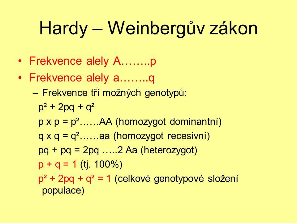 Hardy – Weinbergův zákon Frekvence alely A……..p Frekvence alely a……..q –Frekvence tří možných genotypů: p² + 2pq + q² p x p = p²……AA (homozygot dominantní) q x q = q²……aa (homozygot recesivní) pq + pq = 2pq …..2 Aa (heterozygot) p + q = 1 (tj.
