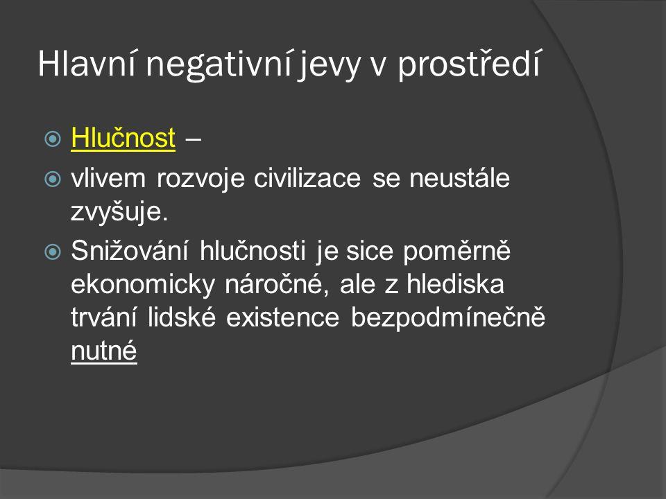 Hlavní negativní jevy v prostředí  Hlučnost –  vlivem rozvoje civilizace se neustále zvyšuje.