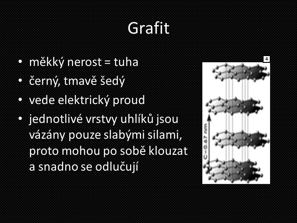 Grafit měkký nerost = tuha černý, tmavě šedý vede elektrický proud jednotlivé vrstvy uhlíků jsou vázány pouze slabými silami, proto mohou po sobě klou
