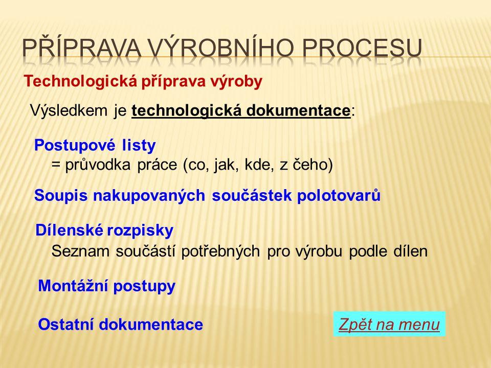 Technologická příprava výroby = průvodka práce (co, jak, kde, z čeho) Soupis nakupovaných součástek polotovarů Výsledkem je technologická dokumentace: