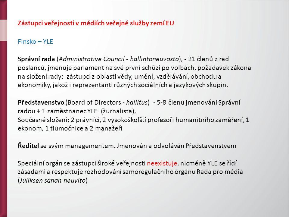 Zástupci veřejnosti v médiích veřejné služby zemí EU Finsko – YLE Správní rada (Administrative Council - hallintoneuvosto), - 21 členů z řad poslanců, jmenuje parlament na své první schůzi po volbách, požadavek zákona na složení rady: zástupci z oblasti vědy, umění, vzdělávání, obchodu a ekonomiky, jakož i reprezentanti různých sociálních a jazykových skupin.