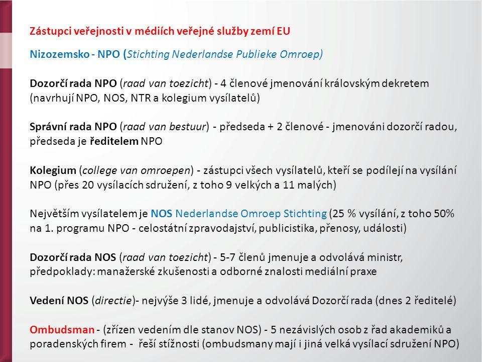 Zástupci veřejnosti v médiích veřejné služby zemí EU Nizozemsko - NPO (Stichting Nederlandse Publieke Omroep) Dozorčí rada NPO (raad van toezicht) - 4 členové jmenování královským dekretem (navrhují NPO, NOS, NTR a kolegium vysílatelů) Správní rada NPO (raad van bestuur) - předseda + 2 členové - jmenováni dozorčí radou, předseda je ředitelem NPO Kolegium (college van omroepen) - zástupci všech vysílatelů, kteří se podílejí na vysílání NPO (přes 20 vysílacích sdružení, z toho 9 velkých a 11 malých) Největším vysílatelem je NOS Nederlandse Omroep Stichting (25 % vysílání, z toho 50% na 1.