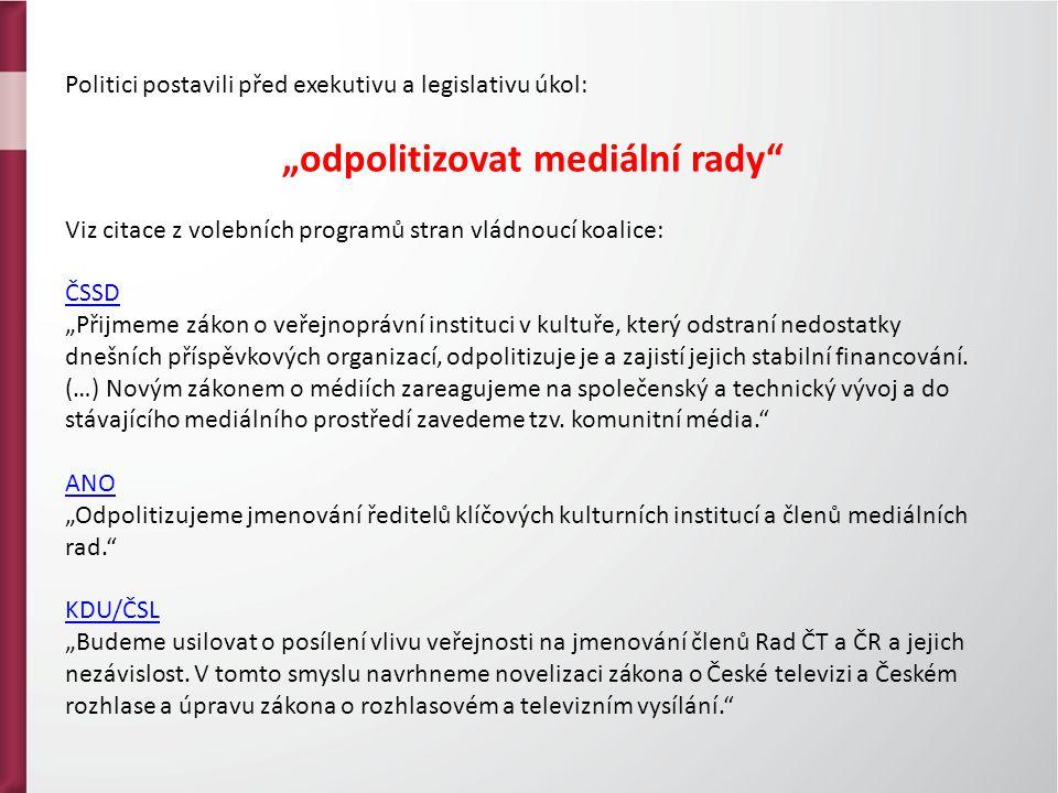 """Politici postavili před exekutivu a legislativu úkol: """"odpolitizovat mediální rady"""" Viz citace z volebních programů stran vládnoucí koalice: ČSSD """"Při"""